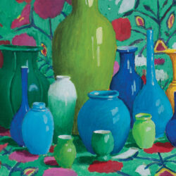 """Blue Pots against Embroidered Fabric - 16"""" x 20"""" - Acrylic on Canvas - Kaffe Fassett"""